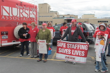 EJ Noble nurses and the New York State Nurses Association outside the Gouverneur hospital. Photo: Julie Grant