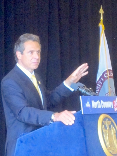 Governor Andrew Cuomo speaks in Potsdam Thursday