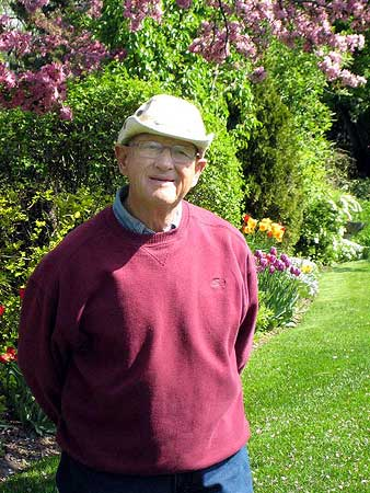 Canadian gardener Jim Bauer in his backyard near Manotick, Ontario