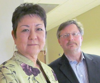 EJ Noble Hospital's new CEO Marlinda LaValley, and new board chair Michael Burgess. Photo: Julie Grant