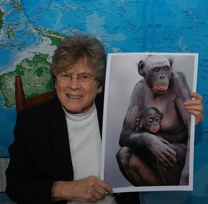 Marian Brickner, with bonobos.