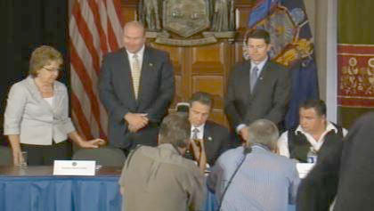 St. Regis Mohawk tribal chiefs and North Country leaders with Governor Cuomo Tuesday in Albany.
