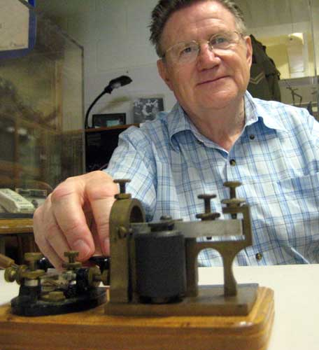 John Larsen demonstrates Morse code at the Cumberland Heritage Village Museum in Ontario.