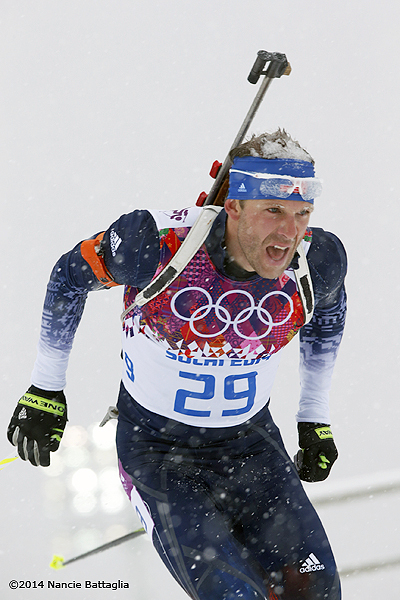 Lowell Bailey churns hard in Sochi, but falls short of medal podium.   Photo: © Nancie Battaglia