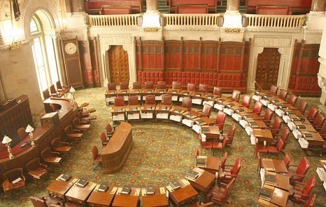 "The New York State Senate chamber, the site of a late-night debate on campaign finance reform. Photo: <a href=""http://www.flickr.com/photos/32051524@N08/5194328403/"">JvL</a>, Creative Commons, some rights reserved"