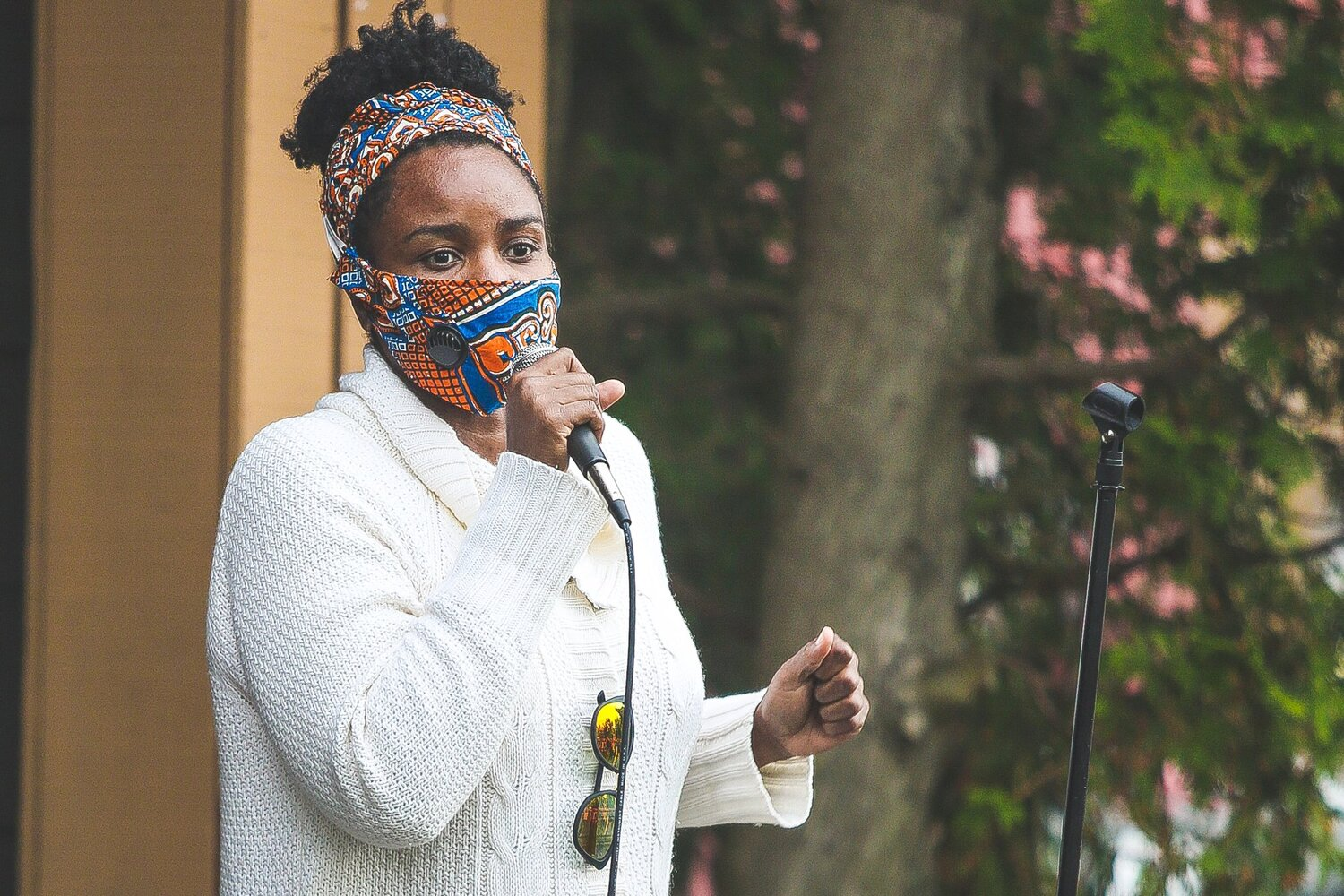 Nicky Hylton-Patterson spoke at the Black Lives Matter rally in Saranac Lake earlier this month. Photo: courtesy Heather Gallaher (Perkins)