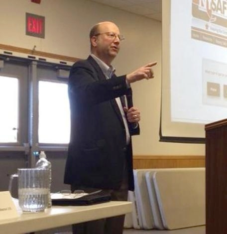 "Assemblyman Bill Nojay explaining changes to gun laws made by the SAFE Act at an informational meeting in Lakeville, NY on April 6. Photo: <a href=""http://assembly.state.ny.us/mem/Bill-Nojay/photos/"">Bill Nojay's state Assembly site</a>"