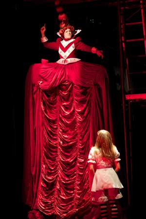 Molly Brennen as the Red Queen, Lindsey Noel Whiting as Alice.  Photo: Ken Huth