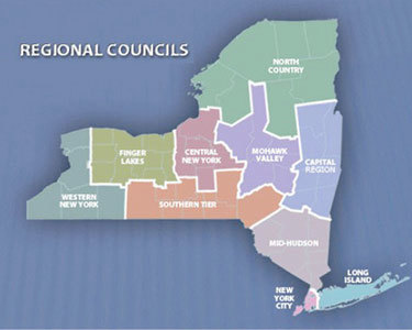 New York's Regional Economic Development Council regions. Map: NYS