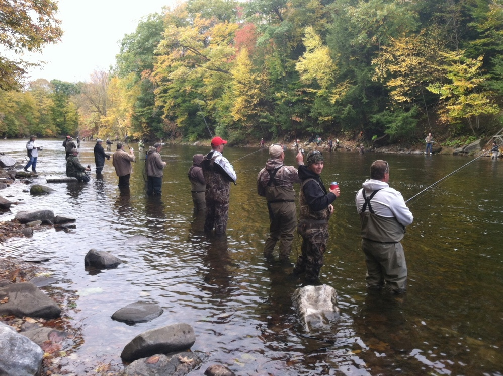 Fishermen flock to pulaski for salmon run ncpr news for Salmon fishing pulaski ny