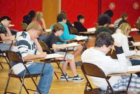 Saranac Lake middle school students take the state standardized English language arts test in April 2012. Photo: Chris Knight, courtesy Adirondack Daily Enterprise