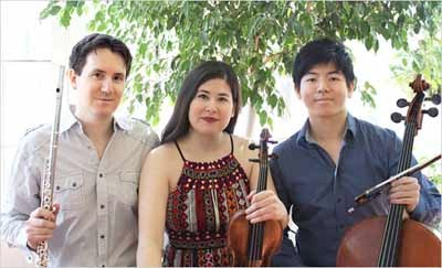 Sonic Escape, a flute-violin-cello trio of Juilliard graduates, will perform on the Norwood Village Green on SUnday. Photo courtesy Sonic Escape