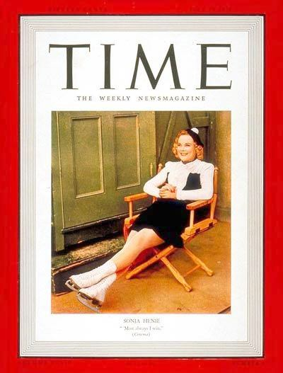Despite flirting with Adolph Hitler, Sonja Henie emerged as America's sweetheart during the build-up to World War II.  She's pictured here on the cover of Time Magazine in 1939.