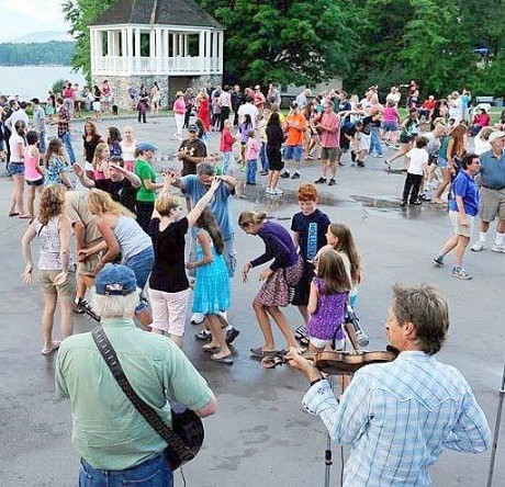 Summer square dancing on the shore of Schroon Lake has been a tradition since the 1930's.  Photo: TAUNY