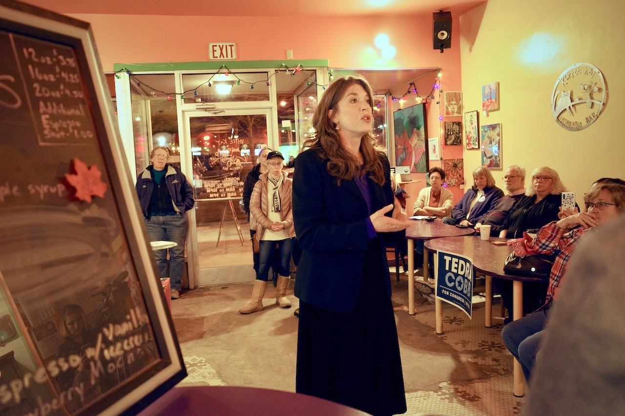 Tedra Cobb speaking at a downtown coffee shop in Plattsburgh. Photo: Emily Russell