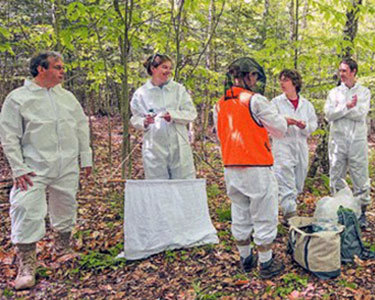Student interns from Paul Smith's College and Middlebury College, with faculty from Paul Smith's College, Trudeau Institute and staff from the state Department of Health, conduct a tick collection orientation session. The session was a primer for a tick research and surveillance program planned for the Adirondacks this summer and fall. Photo by Jake Sporn