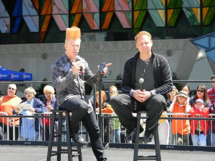 "Nik Wallenda is joined on stage at the Seneca Niagara Casino by Bello Nock, a ""comic daredevil."" (Photo: Daniel Robison, WBFO)"