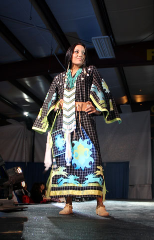 Karina White of Akwesasne models a traditional outfit, designed by Niio Perkins.  Photos by Randi Rourke Barreiro