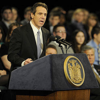 Gov Cuomo delivering his State of the State address.