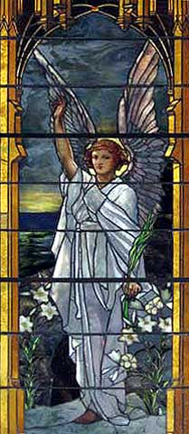 """The Angel of the Resurrection"" window at Trinity Episcopal Church in Potsdam NY. Tiffany, 1895."