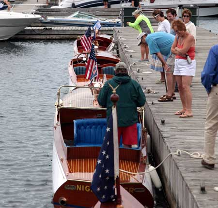 Number Boats - two replicas and an original - at the Alexandria Bay docks. Photo: Sam Newman.