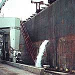 Freighter ballast water discharge transports invasives.