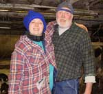 Bobbie and Bob Andrews in the barn.