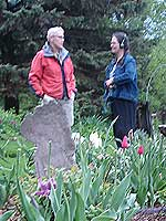 Becky Harblin, left, in her garden.