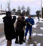Birders watch and tally numbers from the roadside during last year's Christmas Bird Count.