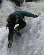 Bob Martin scales ice in the Adirondacks
