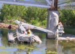 Inspectors working on Lake Champlain bridge at Crown Point