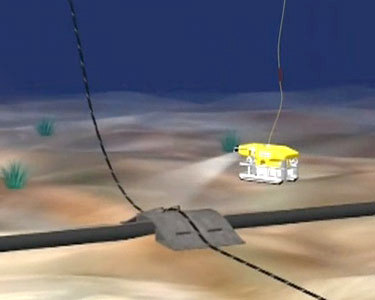 "Artist's depiction of cable laying operation on bed of Lake Champlain. Video still from <a href=""http://youtu.be/63STVzjpNUo"">TDI Cable Deployment</a>"