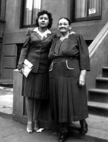 Director Reaghan Tarbell's grandmother (left) and great-grandmother in Brooklyn, c. 1940. Photo courtesy of Ida Meloche Diabo.