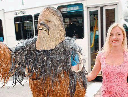 "Chewbacca and his date arrive on the red carpet at Friday's Go Digital or Go Dark premiere  at Lake Placid's Palace Theater. Photo: Chris Morris via <a href=""http://www.adirondackdailyenterprise.com/"">Adirondack Daily Enterprise</a>"