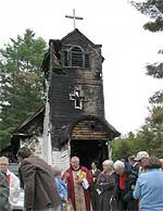 Christ Church, Pottersville, after the fire. Courtesy Diocese of Albany