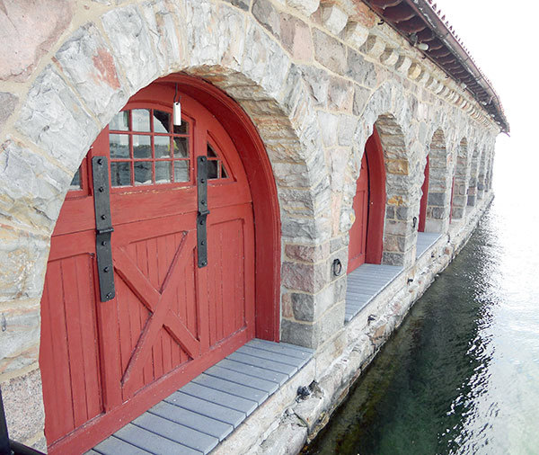 The series of original clam shell doorways at the South Boathouse at Singer Castle. Photo Todd Moe & Soundscape: the closest thing to a drawbridge at Singer Castle ...