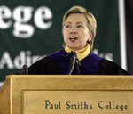 Sen. Clinton addresses Paul Smiths grads (Source:  Nancie Battaglia)