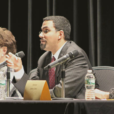 State eduation commissioner John King fielding questions at a forum on Common Core earlier this year in Schroon Lake. Photo: Ian Lowe, used by permission