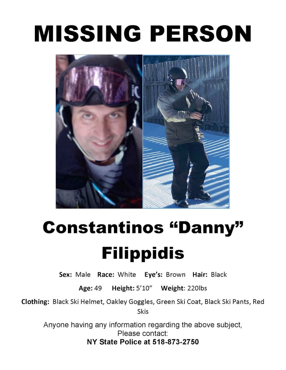 Filippidis Had Been Skiing At The Popular Resort With Friends When He  Vanished. Image: NYS Police  Missing Person Picture