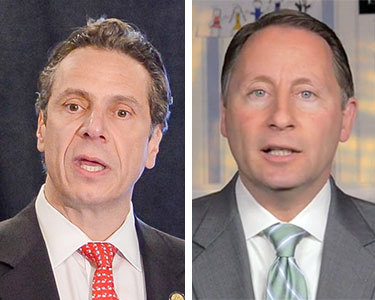 Gov. Cuomo, left, is running against GOP challenger Rob Astorino, right.