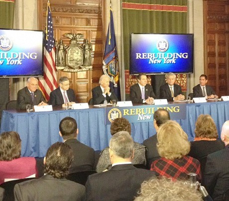 Gov. Cuomo and Vice President Joe Biden share ideas for handling storm-related disasters. Photo: Karen DeWitt