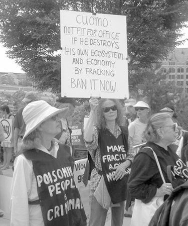 Protestors at an Albany anti-fracking demonstration in August, 2012. Photo: Brian Mann