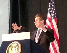 Gov. Cuomo, speaking at Clarkson University in Potsdam on Tuesday, Feb. 5, 2013. Photo: David Sommerstein