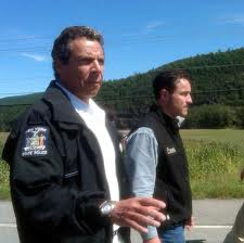 Gov. Adnrew Cuomo touring storm damage in Schoarie County Monday.