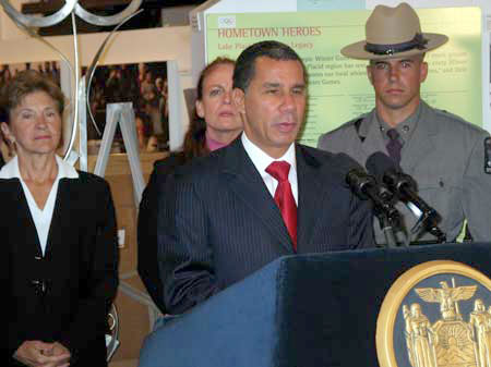 Gov. Paterson at the Olympic Museum in lake Placid, where he signed a new law beefing up DWI enforcement. Photo: Adirondack Daily Entperprise.
