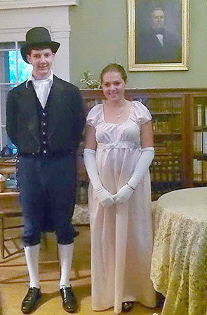 Mr. Darcy and Lydia Bennet (Sam Balzac and Liza Amirault) in the Book & Blanket Players Youth Theatre production of <i>Pride and Prejudice: The Musical</i> in Keene Valley this weekend.  Photo: Book & Blanket Players.