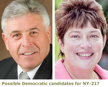 NYS Ag chief Darrel Aubertine and former GOP Assemblywoman Dede Scozzafava top the list of potential Democratic candidates for the NY-21 Congressional race.
