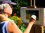 Diane Leifheit captures flowers and an Adirondack chair in pastels