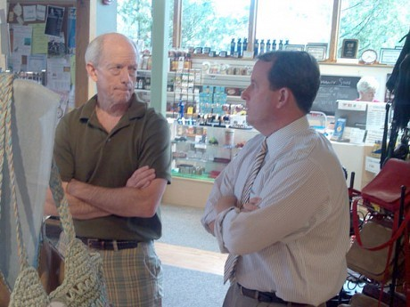 Matt Doheny (R) with Saranac Lake Community Store general manager Craig Waters. Photo: Brian Mann