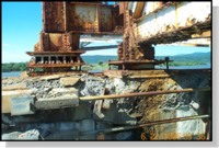 DOT will destroy the steel supports under the Lake Champlain bridge (Source:  DOT)
